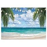 Allenjoy 2,1x1,5m Telón de Fondo para fotografía de Playa Tropical Verano mar Hojas de Palmera Fondo de Boda Despedida de Soltera Baby Shower decoración de Fiesta