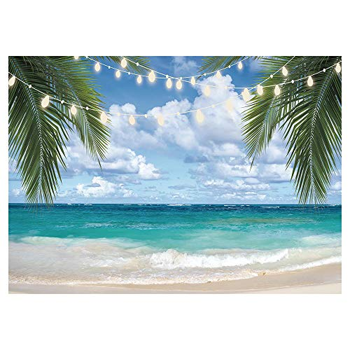Funnytree 7x5FT Tropical Beach Photography Backdrop Summer Sea Palm Leaves Background Wedding Bridal Shower Baby Shower Hawaiian Party Decoration Vacation Holiday Banner Supplies Photobooth Prop