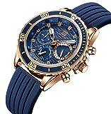 腕時計、メンズ腕時計 ブルー スポーツ ファッション クロノグラフ 多機能 日付表示 防水 アウトドア アナログクォーツ 時計 天然シリコーンバンド