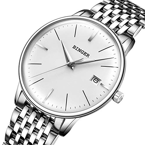BINGER Reloj Automático Suiza Movimiento Zafiro de Japon Reloj mecánico Hombre Correa de Acero Inoxidable con Espejo Gris,Calendario 5078,A