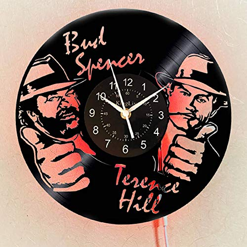 KingLive Bud Spencer Terence Hill Dampfspiel Vinyl Wanduhr Home Decor Handmade Design Weihnachtsgeburtstagsgeschenk für Männer Frauen wanduhr Aus Vinyl Led Wanduhr Männer (led)