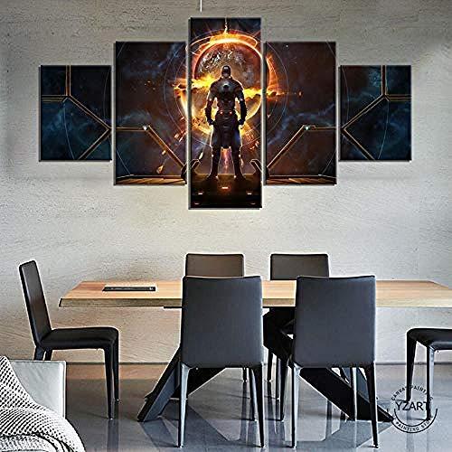 5 piezas de lienzo Cuadro compuesto por 5 lienzos impresos en HD, utilizados para decoración del hogar y carteles Cuadro del juego Destiny 2 con marco 100x55cm