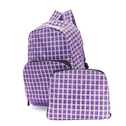 Eco Chic Purple check Foldable Backpack Rucksack holds 15kg max