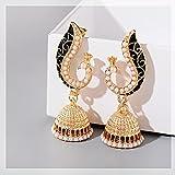 FEARRIN Pendientes Largos Pavo Real para Mujer Perlas Vintage Pendientes con borlas Pendientes Largos con borlas de Verano Style1