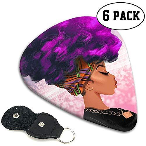Lila Haarfarbe Afrikanische Frau Stilvolle bunte Celluloid-Plektren Plektren für Gitarren-Bass