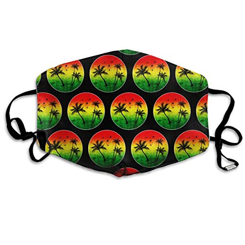 Unisex Premium Polyester Anti Dust Mouth Face Cover Mask, Jamaica Rasta Palm Tree Comfy Half Face Masks Washable Reusable Face Masks Fashion For Boys Girls Teens Kids