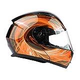 Typhoon TH158 Adult Modular Motorcycle Helmet DOT Dual Visor Full Face Flip-up - Orange XXL