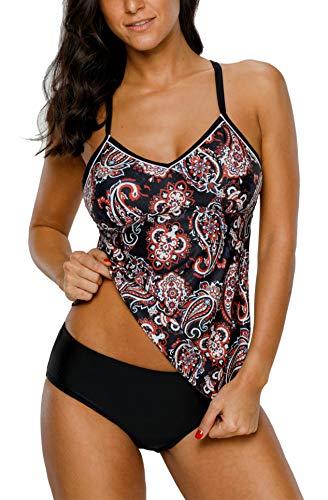 V FOR CITY Tankini Damen Bauchweg Zwei Stück Gepolstert Swimsuit Badeanzug Push Up Oberteile, Schwarz2, L