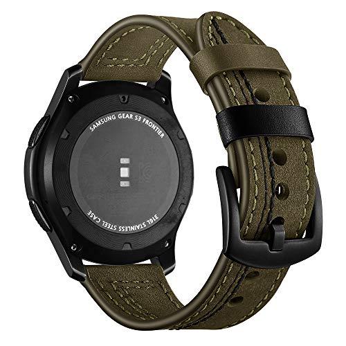 Pulseira 22mm Couro Especial compatível com Galaxy Watch 3 45mm - Galaxy Watch 46mm - Gear S3 Frontier - Amazfit GTR 47mm - Marca LTIMPORTS (Verde Militar)