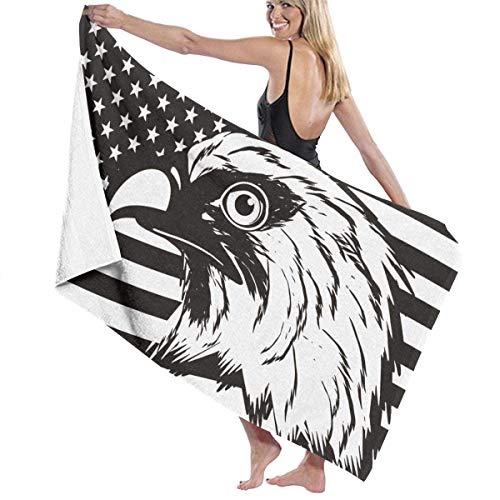 Abel Berth Bandera Americana águila Calva Grandes Toallas de baño de Secado rápido Microfibra Manta de Playa Suave y Ligera para Viajar