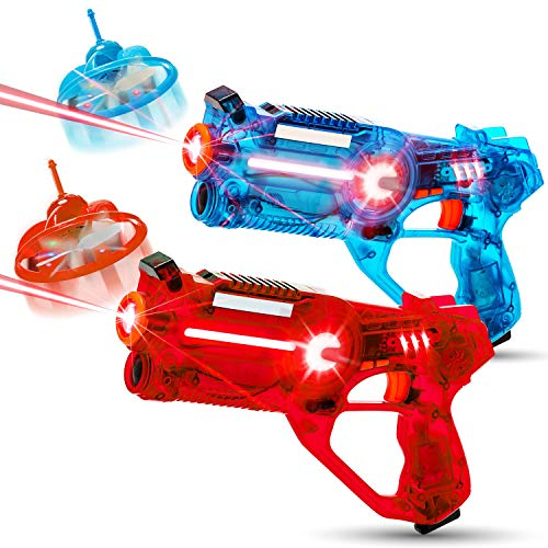 HIPHOPTOY 2-Player Kids Laser Tag Gun Game with Flying Drone Target, 2 Laser Blasters and 2 Wireless...
