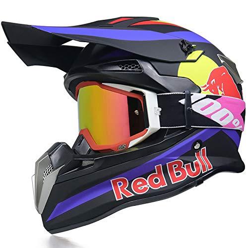 Casco Integrali Caschi Motocross,Casco Moto Certificazione DOT/ECE Traspirante Casco Integrale di Sicurezza Guanti per occhiali Red Bull B,L