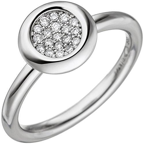 JOBO Damen-Ring aus 585 Weißgold mit 19 Diamanten Größe 54