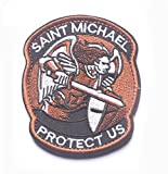 Saint Michael Modern Morale Patch Tactical Military Army Embroidered Sew on Tags Operator Patches with Hook and Loop Fasteners Backing-Multitan (Brown)