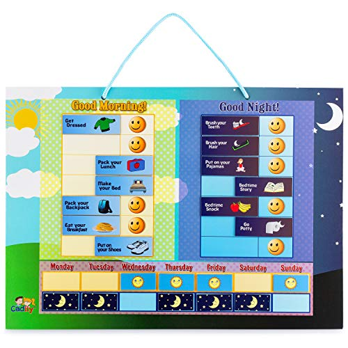 Cadily Magnetic Day & Night Responsibility Chart for Kids. Reward Good Habits with a Morning & Night Time Checklist for Kids & Toddlers
