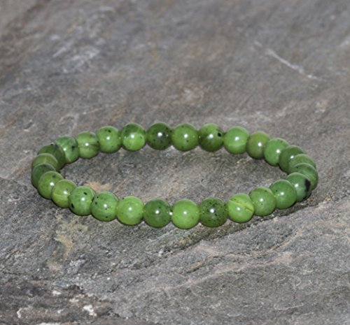 Pulsera de Jade Natural de 6 mm, Joyería de Piedras Preciosas Naturales de Jadeíta Canadiense hecho a mano, Cuentas de Jade de Canadá Genuino, Simboliza poder, Prosperidad y Salud, Pulsera Verde
