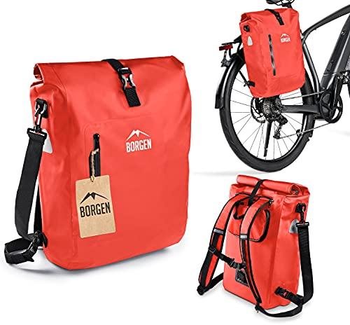 Borgen Fahrradtasche 3in1 Gepäckträgertasche, Fahrradrucksack und Umhängetasche - 100% Wasserdicht (rot, 25L)