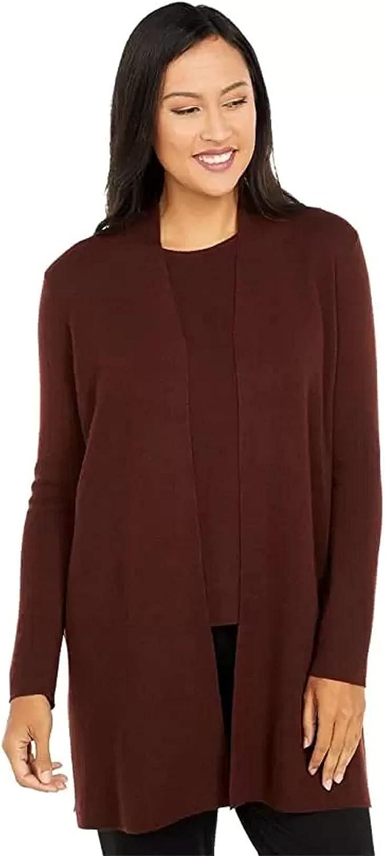 Eileen Fisher Brown Stone Ultrafine Merino Wool Long Cardigan Size PS MSRP $318