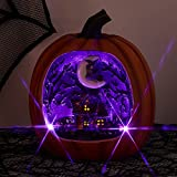 PEIDUO Halloween Resin Pumpkin with Ghost Haunted House Lighted by 4 Purple and 1 Orange Lights Light Up Pumpkin for Home Halloween Decor
