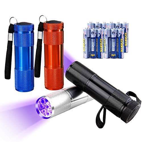 JTENG 4pcs Torcia UV, con 9 Leds Lampada Ultravioletti 395 NM Torcia Animali Urina Cane, Gatto Smacchiatore Rivelatore UV, 12 Batterie AAA Incluse(Nero-Blu-Rosso-Argento)