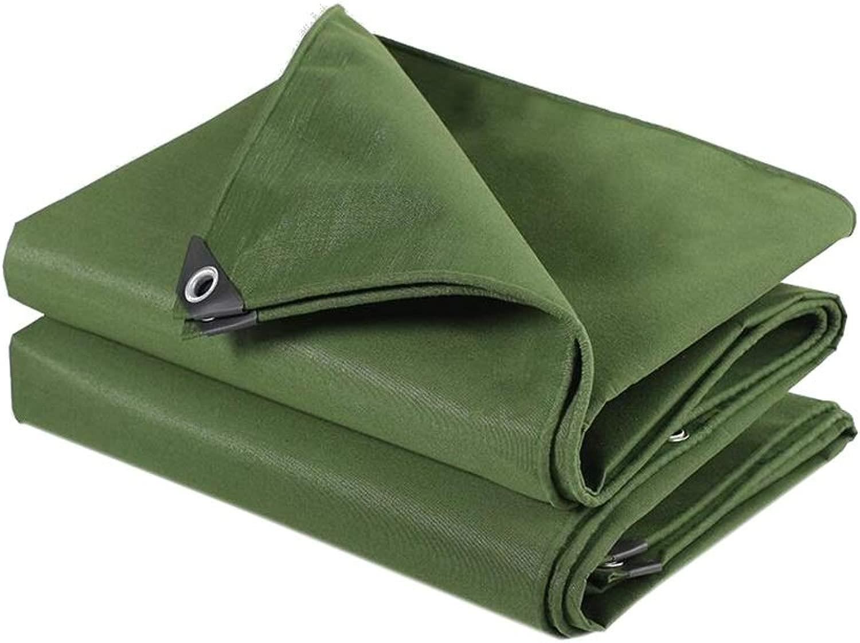 ZX タープ キャンバスタープ トラックタープ 防水 UV耐性 ヘビーデューティターポリンカバー カーボートキャンプ場 テント アウトドア (Color : 緑, Size : 6x8m)