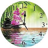 Yaoni Silencioso Wall Clock Decoración de hogar de Reloj de Redondo,Set de SPA, Orquídea Flor Piedra Cultura Oriental Espiritualidad Bienestar Vacaciones tropi,para Hogar, Sala de Estar, el Aula