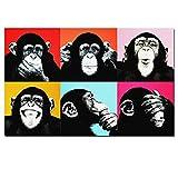 NIEMENGZHEN Druck auf Leinwand Andy Warhol Bunte Affentier