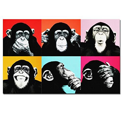 NIEMENGZHEN Druck auf Leinwand Andy Warhol Bunte Affentier Poster Druck Leinwandbilder für Wohnzimmer Wandkunst Cuadros Bilder 27,5