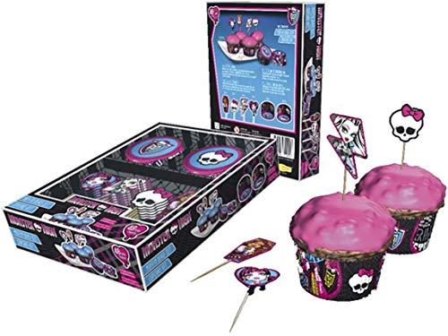 Filly 96-teiliges Muffin und Cupcake Deko Set, Muffin Papierförmchen, Cupcake Deko Förmchen mit Monster High Motiven