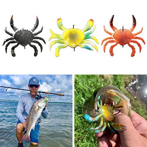 Señuelo de Pesca Suave Cangrejo Artificial Cebo de Pesca, Accesorio para Aparejos de Peces de Agua Salada para Agua Dulce Salada Costera