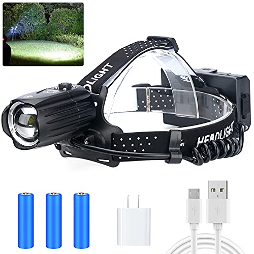 LED Rechargeable Headlamp for Adults,90000 Lumens Outdoor Led Head Lamps Flashlights, Headlights with Batteries Included, Zoomable, 3 Modes, Waterproof, Red Warn Light for Hunting/Running