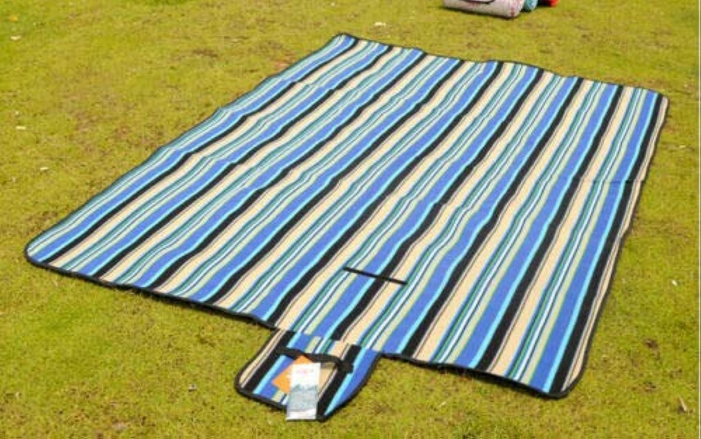 FidgetGear Waterproof Folding Outdoor Camping Mat Picnic Mat Plaid Beach Blanket 150x200cm blueee Stripe