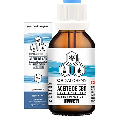 Aceite de CBD 30 ML   15% Extracto, 600 Gotas 4500 MG, Grandes Propiedades Curativas, Ayuda a la Relajación, Reduce el Estrés y la Ansiedad - Hecho en Suiza
