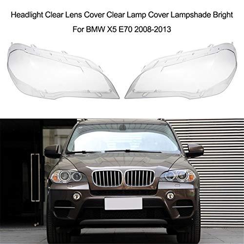 lilili Scheinwerfer Glasabdeckung Auto Klar Scheinwerfer Objektivabdeckung Ersatz-Scheinwerfer-Kopf-Licht-Lampe Shell Cover Fit for BMW X5 E70 2008-2013 Autozubehör (Color : Transparent)