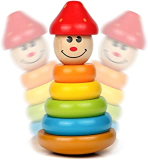 積み木 木製 知育玩具 スタッキングタワー 不倒翁 かわいい パズル かわいい 赤ちゃん 幼児用 ボーイズ ガールズ 男の子や女の子用 指先の器用さ 認知力 学習・教育用おもちゃ