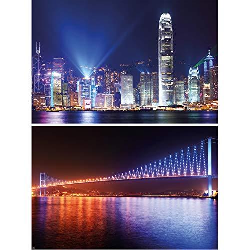 GRAN ARTE Set de 2 posters XXL - Metrópolis de noche - Puente de Hong Kong y del Bósforo China Turquía Ciudad Mar Rascacielos Decoración de la pared foto (140 x 100 cm)
