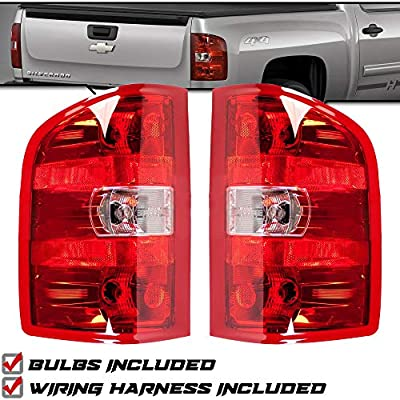 Epic Lighting OE Style Replacement Rear Brake Tail Lights Compatible with 2007-2014 Silverado Sierra Chevy Pickup Truck [ GM2800207 25958482 GM2801207 25958483 ] Left Driver Right Passenger Pair