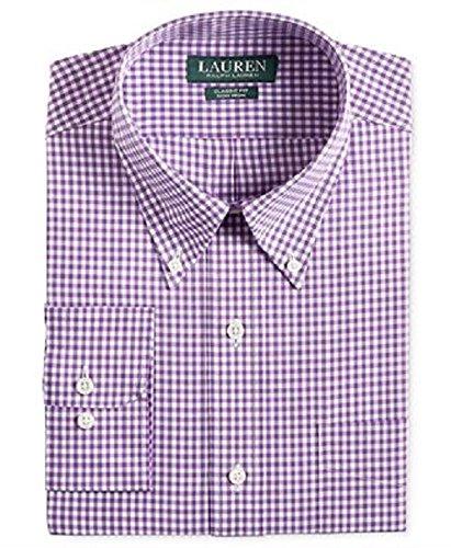 Camisa social masculina Lauren Ralph Lauren, ajuste clássico, não precisa passar a ferro, roxa, 16 86 x 35