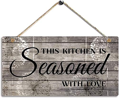AJHERO Farmhouse Kitchen Decor, Rustic Kitchen Signs Wall Decor Wall Art,This Kitchen is Seasoned with Love-Kitchen Wall Decor 5