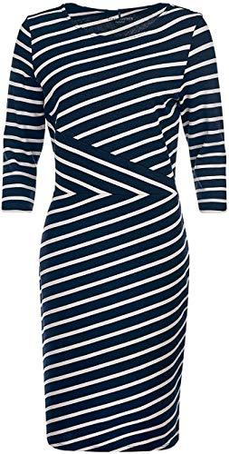Gerry Weber Casual Gerry Weber 98035-44010 8092 Damen Kleid modisch gestreift Rundhals und 3/4-Arm, Groesse 48, dunkelblau/Ecru/gestreift