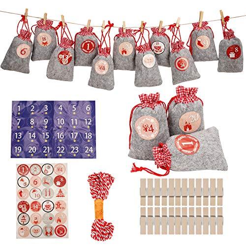 Herefun 24 Calendario de Adviento Navidad, Bolsa para Calendario de Adviento Bolsas de Yute Bolsa Regalo Navidad, Calendario Adviento Casero, Calendario Navideño