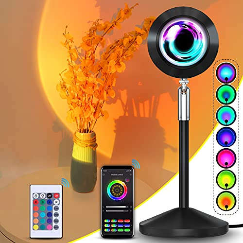 Sunset Lamp, APP and Remote Control Multiple Colors Sunset Light Rainbow Projector Sunset Projection...