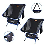 Nice C Ultralight Portable Folding Camping Backpacking Chair Compact & Heavy Duty Outdoor, Camping, BBQ, Beach, Travel, Picnic, Festival with 2 Storage Bags&Carry Bag (2 Pack of Blue)