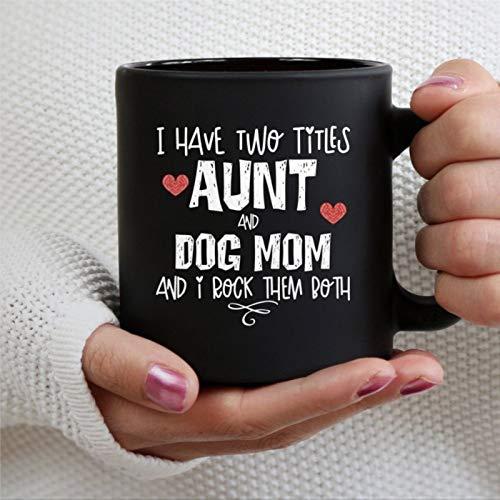 Taza para tía y perro, regalo de tía, taza de té de cerámica, regalo de Navidad, cumpleaños para hombres y mujeres