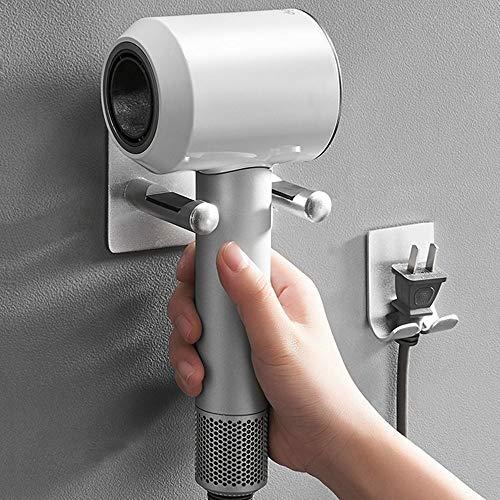 El soporte de aluminio multifuncional del estante del secador de pelo del espacio multifuncional, ningunos tenedores del secador de pelo de la perforación for Dyson con almacenamiento del enchufe