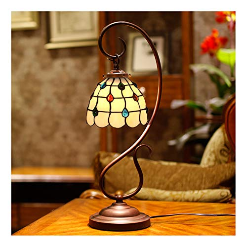 10-Zoll-Tiffany-Stil-Tischlampe, Retro-Buntglas-Lampenschirm-Tischlampe, LED-Tischlampe für das Schlafzimmer-Bettlampen-Studie-Kommode.