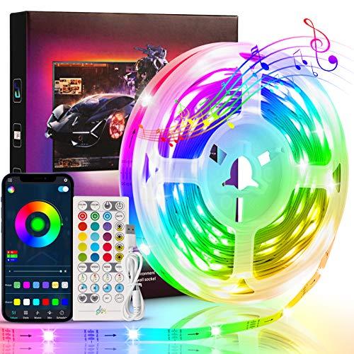 Bluetooth LED Streifen 5M, KNMY LED Strip Lichtband mit Smart App und Fernbedienung, USB Musik Sync RGB-Farbwechsel LED Band für TV, Schlafzimmer, Küche, Partydekoration