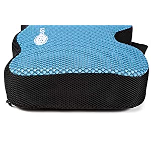 Veradura Rowing Machine Seat Cushion fits Concept 2 Model D & E, 7.6 cm High Density Memory Foam Pad, Breathable Mesh Fabric, Adjustable Strap, Anti Slip Base - Complete with Protective Rowing Gloves