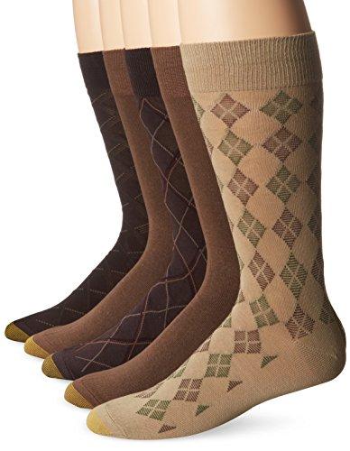 Gold Toe Men's Diagonal Plaid Crew Socks, 5-Pairs, Brown/Mocha, Large