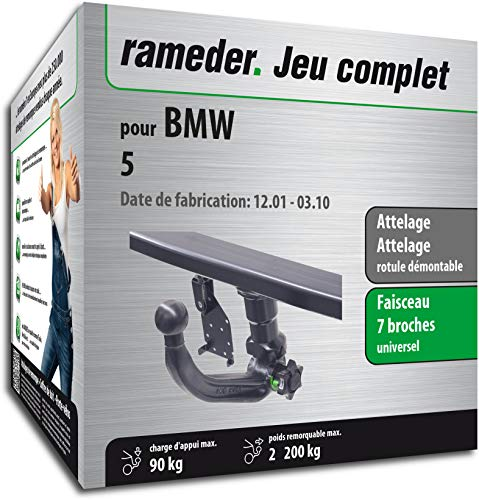 Rameder Pack, attelage rotule démontable + Faisceau 7 Broches Compatible avec BMW 5 (143470-04993-1-FR)